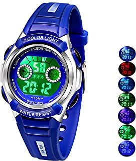 Multi Coloured Lights Time Teacher Watch for Girls Boys Digital Sports Swim,Frozen,Waterproof Kids Watches,for Age 3-8