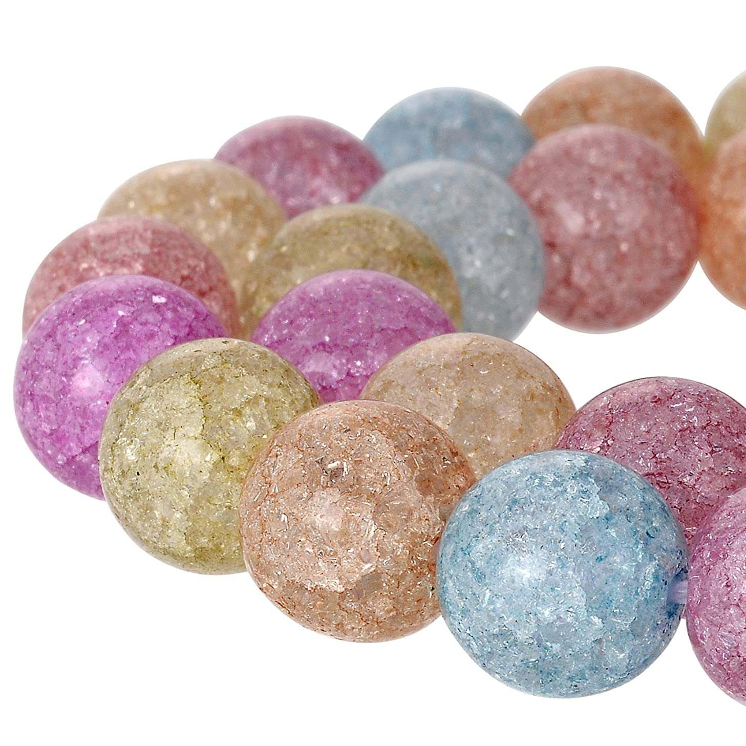RUBYCA Round Crackle Druk Czech Crystal Splash Glass Beads for Jewelry Making 4mm Strand (Mix Color)