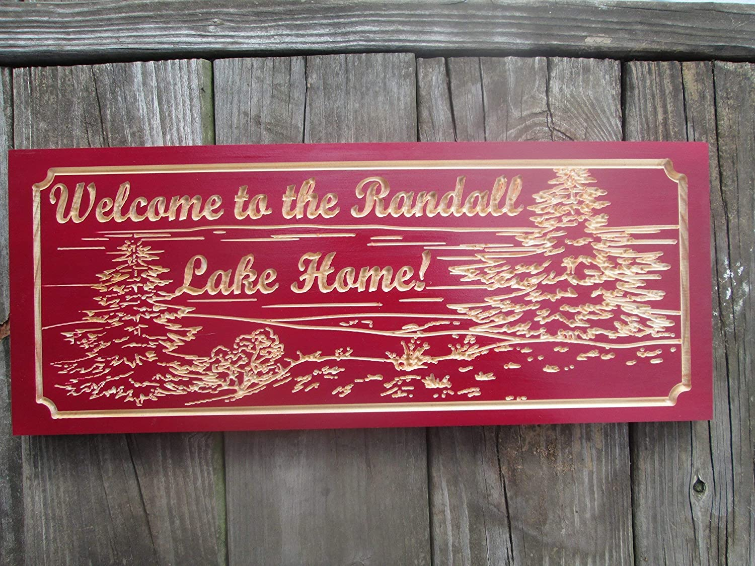 Max Classic 82% OFF Lake House or Cabin Sign Carved Wooden Family Custom Name