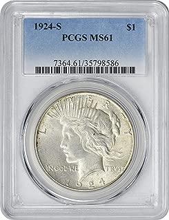 1924-S Peace Silver Dollar, MS61, PCGS