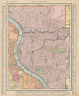 Historic Pictoric Map - Cincinnati 1900 - Universal Atlas World - Vintage Poster Art Reproduction - 24in x 30in