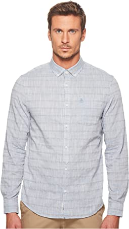 Original Penguin - Long Sleeve Yarn-Dye Stripe on Slub Chambray Lawn Shirt