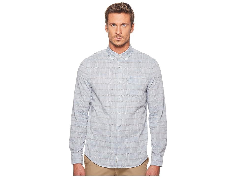 Original Penguin Long Sleeve Yarn-Dye Stripe on Slub Chambray Lawn Shirt (China Blue) Men's Long Sleeve Button Up
