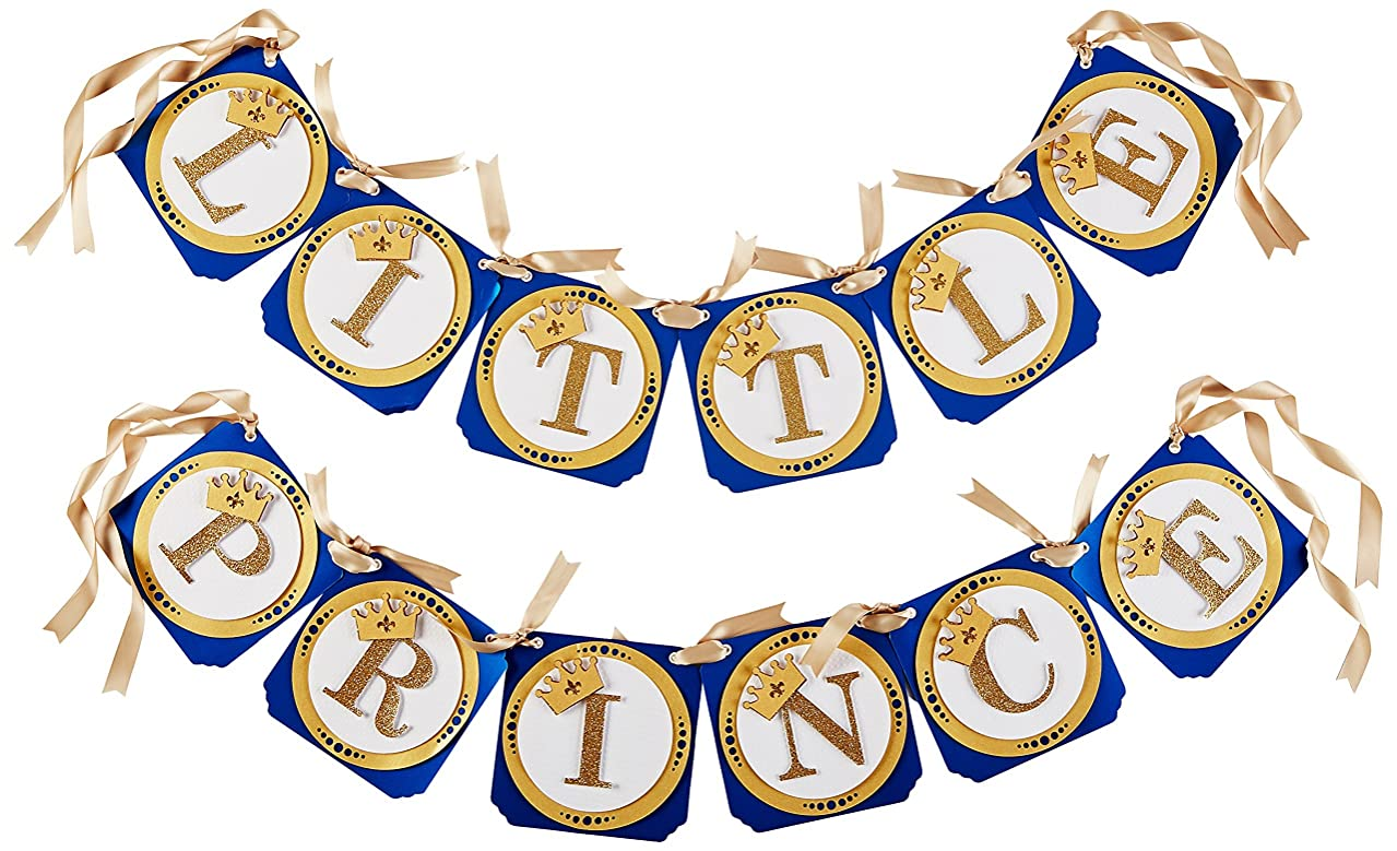 All About Details Royal Blue & Gold Little Prince Banner