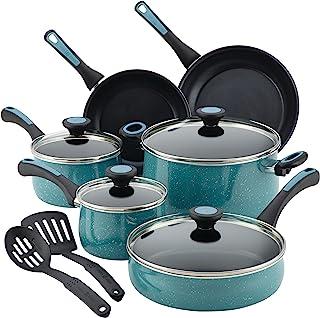 Paula Deen Riverbend Nonstick Cookware Pots and Pans Set, 12 Piece, Gulf Blue Speckle