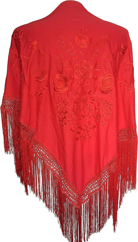 La Senorita Spanish Flamenco Dance Shawl red with red flowers Large