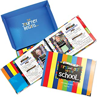 School Memory Book Keepsake Album w/Pockets, Photo Pages, Gift Box, Preschool Thru College, (Class Keeper - Primary Stripes)