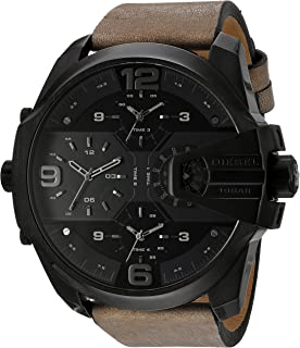 Diesel Men's DZ7390 Uber Chief Black Ip Brown Leather Watch