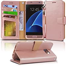 Arae Case Compatible for Samsung Galaxy s7 Edge, [Wrist Strap] Flip Folio [Kickstand Feature] PU Leather Wallet case with ...