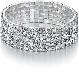 JEWMAY Yumei Jewelry 5 Strand Rhinestone Stretch Bracelet Silver-Tone Sparkling Bridal Tennis Bangle