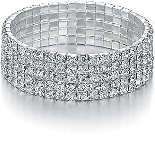 Yumei Jewelry 5 Strand Rhinestone Stretch Bracelet Silver-Tone Sparkling Bridal Tennis Bangle