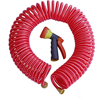TABOR TOOLS Coil Garden Hose, 25 Feet Retractable Recoil Watering Hose with 8-Pattern Spray Nozzle, Corrosion Resistant 3/4 Inch Solid Brass Connectors, Lightweight and Durable. WK25A. (25 Feet)