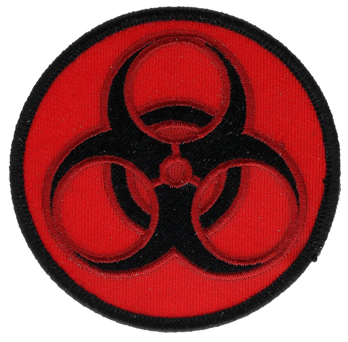 Biohazard Symbol Black on Red 3
