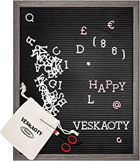 Plastic Letter Board with 376 Letters, Numbers & Symbols - 16 x 20 inch Changeable Message Board with Wooden Frame Wall Mount Hook, (Black Board & Grey Frame) by Veskaoty