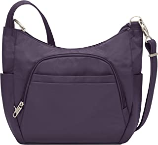 Travelon Anti-Theft Classic Crossbody Bucket Bag, Purple (Purple) - 42757-150
