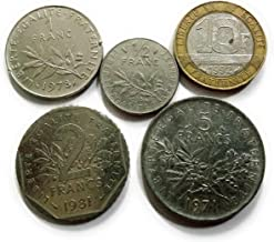 Coins & Stamps - Old France Pre Euro 5 Different Coins