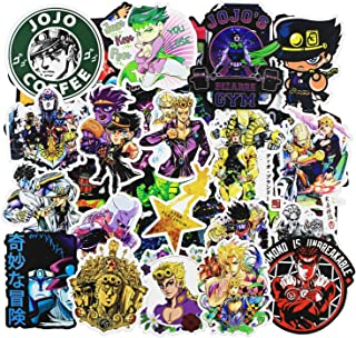 Anime Cartoon Stickers 50 Pcs/Pack of JoJo's Bizarre Adventure Cool Stickers to Kid Teen Child Aesthetic Waterproof Vinyl Decal Patches for Mac Skateboard Snowboard Computer Laptop Notebook