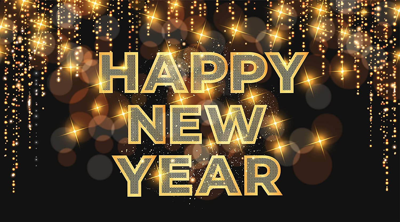 Xtra Large Happy New Year Banner - Ne Colorado Springs Mall x 71 Elegant 2022 Black 40 Inch