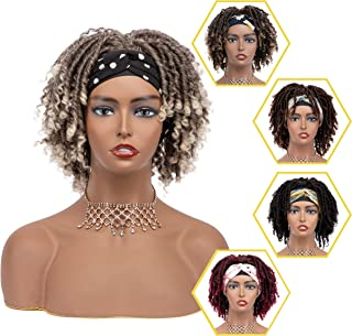 DAIXI 8 inch Headband Wigs Synthetic Braided Wigs for Black Women Ombre Dreadlocks Wig Faux Locs Twist Wigs with Curly End...