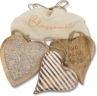 Rustic Gallery Wall Heart decor - Live Love Laugh Wall Decor - 3 x heart-shaped wall pediments in natural, gray and white ...