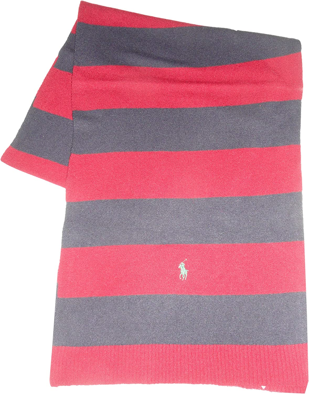 Polo Ralph Lauren Mens Wool Blend Winter Scarf Cranberry & Navy Striped