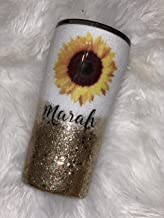 Sunflower She is a wildflower, Beautiful, fierce and free Glitter Tumbler