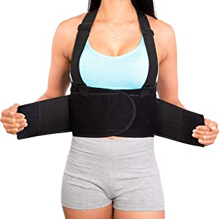 Lower Back Brace with Suspenders | Lumbar Support | Wrap for Posture Recovery, Workout, Herniated Disc Pain Relief | Waist...