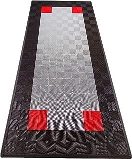 Swisstrax (ASNGCP-PSBLKRD Ribtrax Single Car Pad with Edges, Black/Pearl Silver/Red
