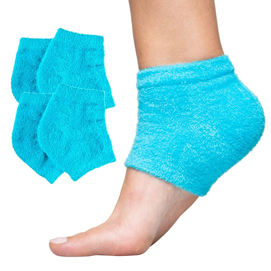 ZenToes Moisturizing Heel Socks 2 Pairs Gel Lined Toeless Spa Socks to Heal and Treat Dry, Cracked Heels While You Sleep (Fuzzy, Blue)