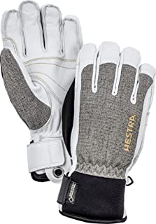 Hestra Army Leather Gore-TEX Short - Waterproof, Close Fitting 5-Finger Snow Glove for Skiing and Mountaineering - Light Grey/Offwhite - 9