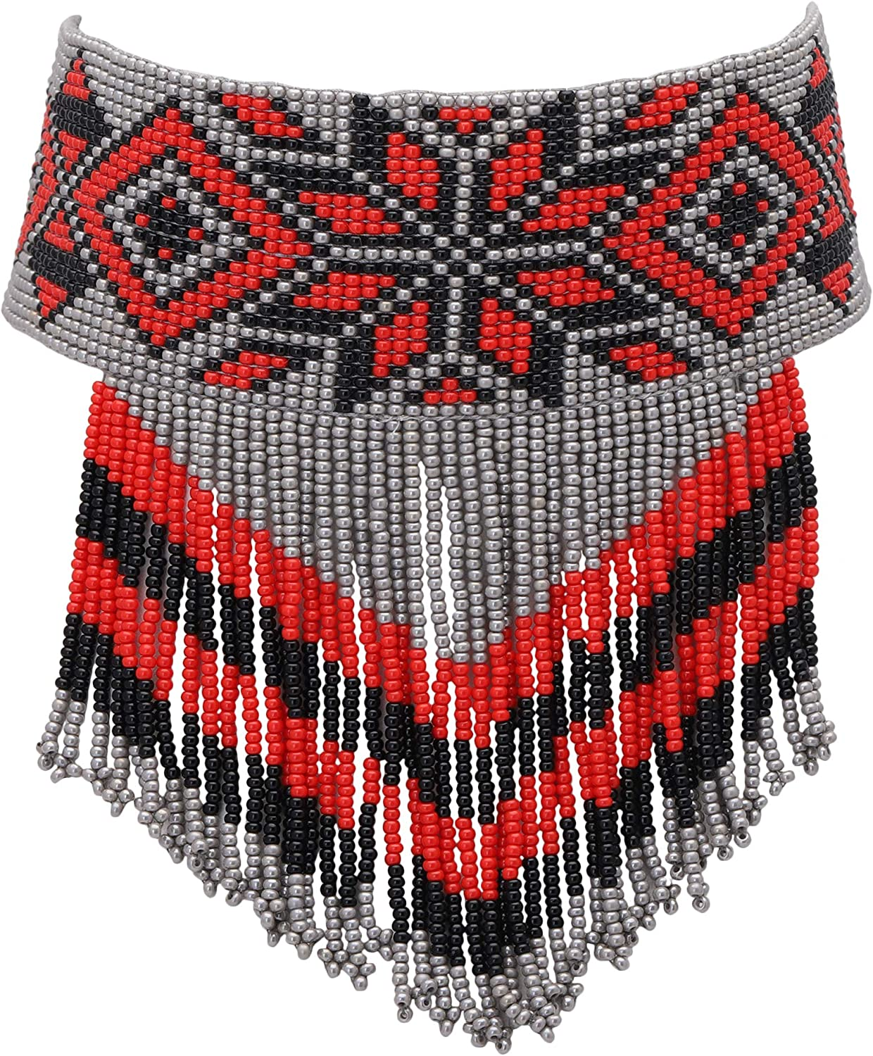 El Allure Preciosa Jablonex Seed Bead American Navajo Seed Beaded Black, Grey and Red Choker with Floral Pattern Handmade Personalized Delicate Costume Fashion Unique Native Necklace for Women.