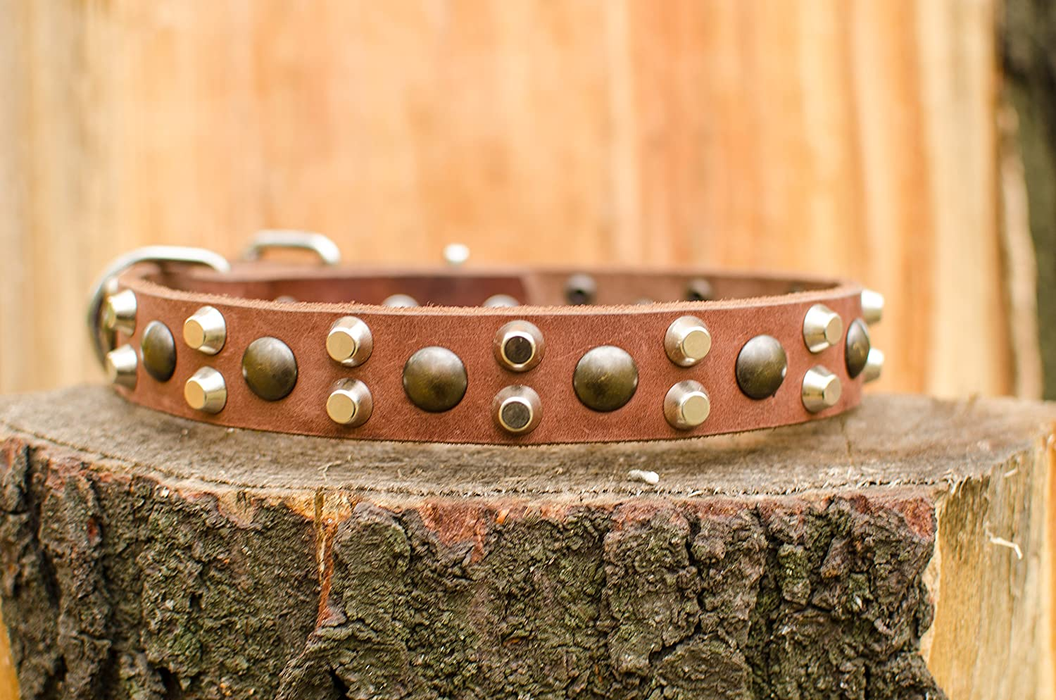 ForDogTrainers 29 inch Antique Flowers Decorated Tan Leather Dog Collar with Chrome Plated Round Studs  4 5 inches (20 mm) Wide