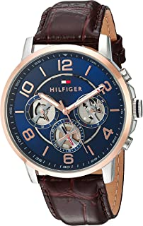 Tommy Hilfiger Men s Quartz Stainless Steel and Leather Casual Watch Color Brown Strap Model 1791290
