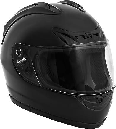 Fuel Helmets Casco de rostro completo, motorcross-motocicletas, Negro satinado, Mediano