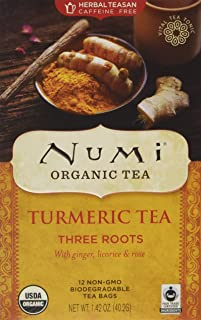 Numi Organic Tea Turmeric Tea, Three Roots,12 Bag(S),1.42 OZ(40.2G)
