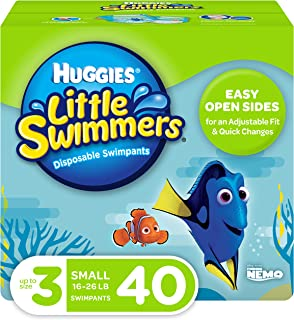 Huggies Little Swimmers Disposable Swim Diapers, Swimpants, Size 3 Small (16-26 lb.), 40 Ct. (Packaging May Vary)