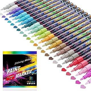 comprar comparacion Honmax Rotuladores Metálicos, 24 Colores Marcadores Metálicos impermeables Permanentes Set para DIY, Álbum de Fotos, Pinta...
