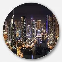 "Designart MT9939-C23 ""Dubai Marina View at Night Cityscape Disc"" Metal Wall Art, 23"" x 23"""