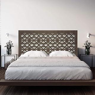 Cabecero de Cama en Madera Calada, para Cama de Dormitorio de Matrimonio o Juvenil. Fabricado artesanalmente en España- Decorado a Mano- Modelo Mosaico 166 (Nogal, 145x80 cm)