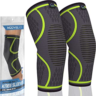 Modvel Athletics Compression Knee Sleeve | 1 Pair FDA Registered | Knee Brace Support for Arthritis, ACL, Running, Biking, Basketball Sports | Joint Pain Relief, Meniscus Tear, Faster Injury Recovery