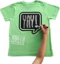 Chalk of the Town Chalkboard T-Shirt Kit for Kids - Short Sleeve Lime Green Speech Bubble w/1 Chalk Marker and Stencil (Youth Medium)
