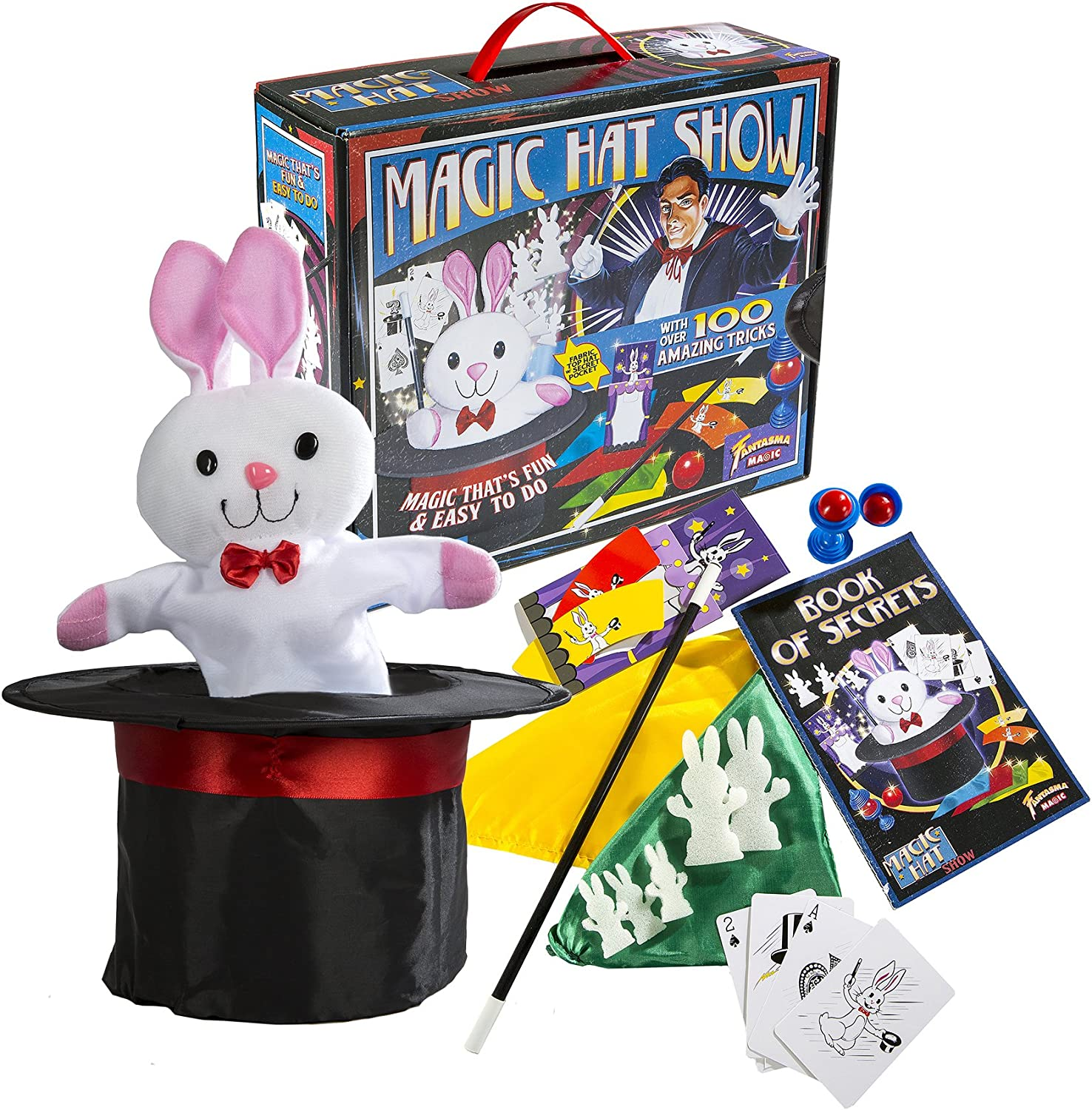 Fantasma Toys Retro Magic Hat Show - 100 Fun and Easy Tricks - Includes Fabric Top Hat with Secret Pocket - Made with Small Hands in Mind - For Ages 5 and Up