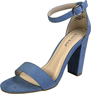 Women's Single Band Chunky Heel Sandal with Ankle Strap
