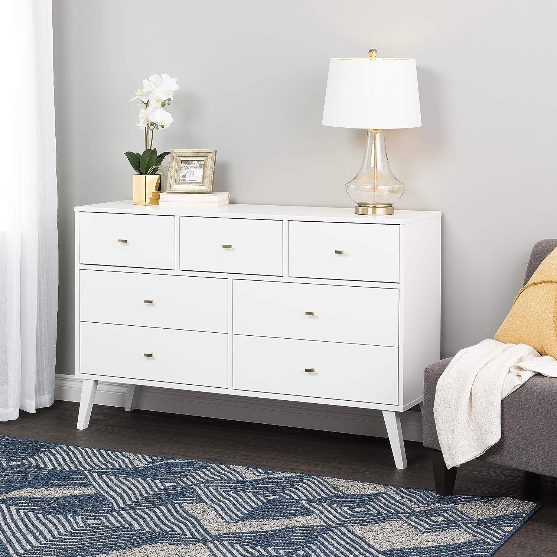 Prepac Milo Mid Century Modern Dresser, 7-Drawer, White