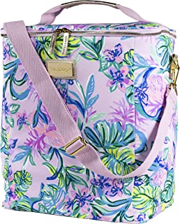 Lilly Pulitzer Insulated Wine Carrier Soft Cooler with Adjustable/Removable Strap and Double Zipper Close, Holds up to 4 Bottles of Wine, Mermaid in the Shade