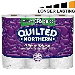 Quilted Northern Ultra Plush Toilet Paper, 9 Mega Rolls, 9 = 36 Regular Rolls