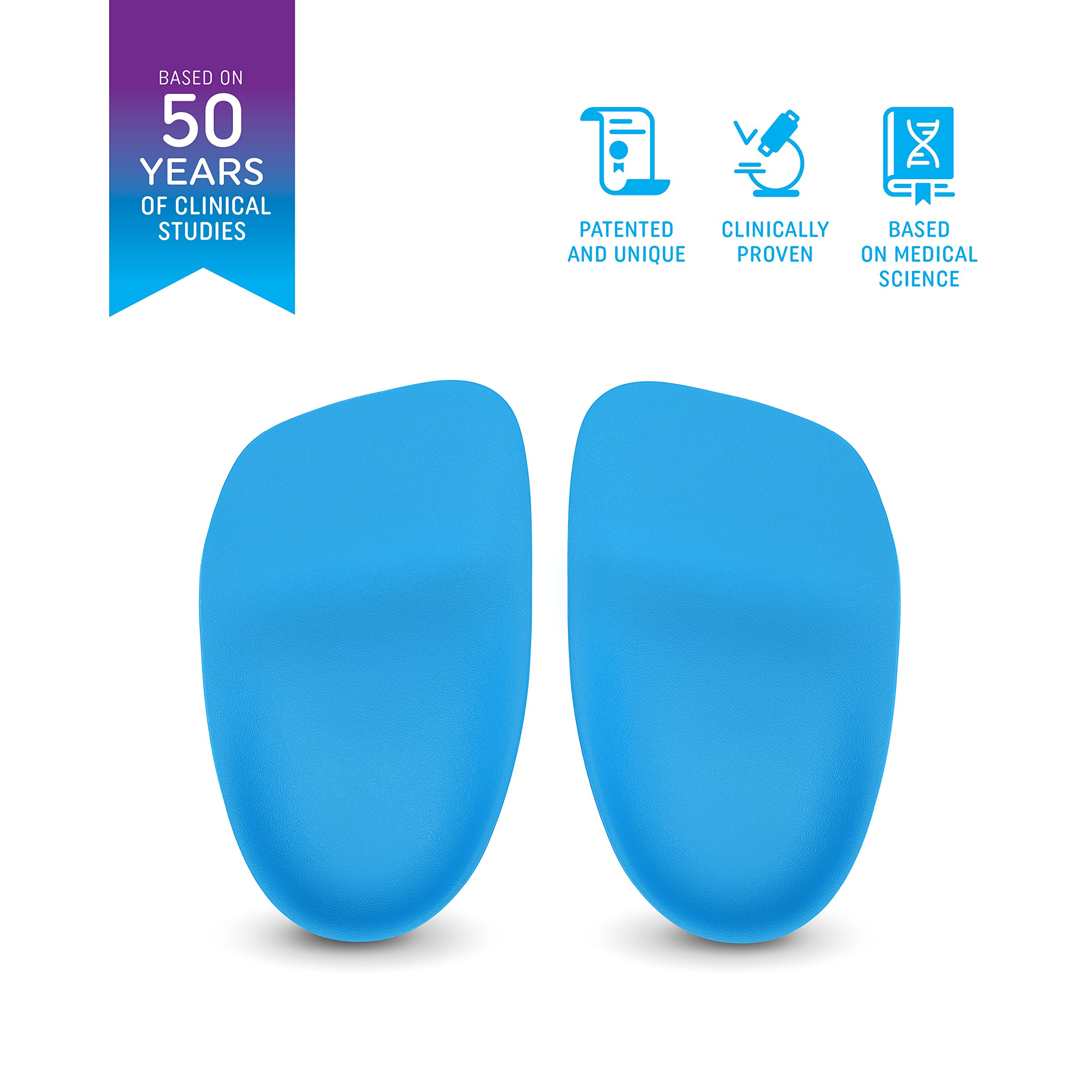 Heel That Pain Plantar Fasciitis Insoles   Heel Seats Foot Orthotic Inserts, Heel Cups for Heel Pain and Heel Spurs   Patented, Clinically Proven, 100% Guaranteed   Blue, Large (W 10.5-13, M 8.5-12)