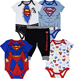 Superman Baby Boys 5 Piece Bodysuit & Pants Set