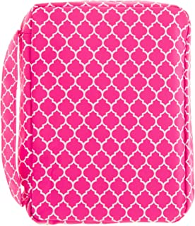 Good Ruby Compact Bible Cover with Carrying Handle, Book Protector with Pocket Colorful Trellis Bible Carrying Case with Zipper and Pen Holder for Women, Teens, Girls, Females (Pink)