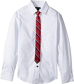 Tommy Hilfiger Kids - Long Sleeve Stretch Shirt with Tie (Big Kids)